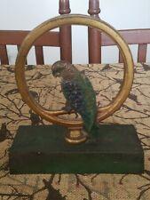 ANTIQUE BRADLEY HUBBARD B&H CAST IRON PARROT PARAKEET BIRD ART STATUE DOORSTOP