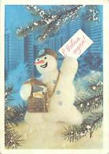 Holiday winter time postman snowman Postcard