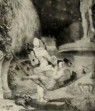 Willette L'Envie héliogravure curiosa femme erotica Pierrot péchés capitaux