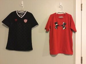 Lot Of Two Boys Shirts Youth Sz M Under Armour & Umbro Athletic T-shirts