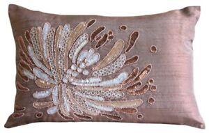 """Peach-Pink Sequins Beaded Flower 12x18"""" Silk Lumbar Pillow Cover Fading To Light"""
