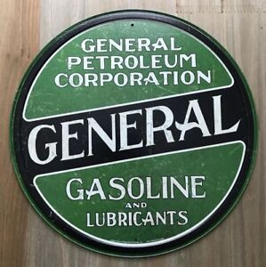New General Petroleum Corporation Round Tin Metal Sign NR!! Vintage NEW
