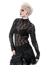 Queen Of Darkness Black Lace Floral Top size Small NWT
