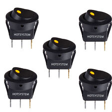 5x HOTSYSTEM Yellow LED Dot Light 12V Car Round Rocker ON/OFF TOGGLE SPST Switch