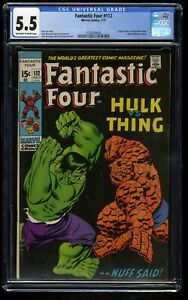 Fantastic Four #112 CGC FN- 5.5 Off White to White Hulk Vs Thing! Marvel Comics