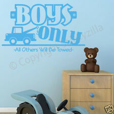 """Boys Only"" Vinyl Wall Decal Sticker - Nursery Room Removable Vinyl"