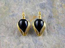 Vintage Givenchy Bijoux Gold Tone Black Accent Drop Leverback Earrings