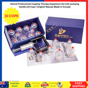 10 Cups Professional Therapy Cupping Set Pumping Handle Hansol Medical Equipment