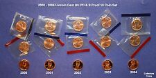 2000, 2001, 2002, 2003 & 2004 Lincoln Cent PDS Set w10 Mint Set PD BU + 5 Proofs