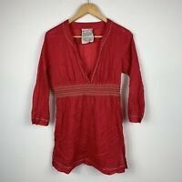 Seafolly Womens Top Size Small Beach Kaftan Red 3/4 Sleeve Good Condition