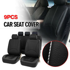 Black Breathable PU Leather Car Seat Cover Full Seat Protector Set Front & Rear