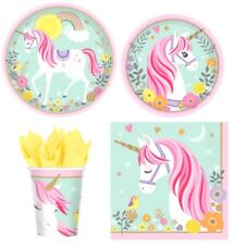 Magical Unicorn Pink Party Express Pack for 8 Guests (Cups Napkins & Plates)