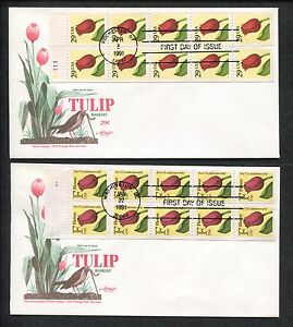 Lot of 2 1991 First Day of Issue Covers Tulip Pane of 10 Flower Stamp #A1879