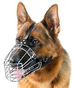 German Shepard Muzzle Big DogChrome Metal Dog Wire Basket Muzzle Reinforced Cage
