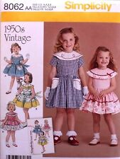 DRESS *RETRO Simplicity Pattern 8062 NEW Size Infant/Toddler/Girl 1/2-3