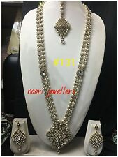 New Indian Bollywood Jewellery Long Pearls Necklace And Earrings Set Gold Tone