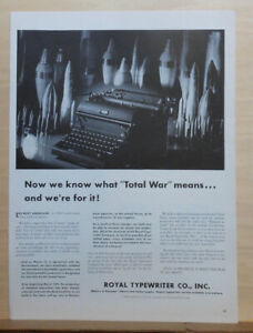 1942 magazine ad for Royal Typewriters - know now the meaning of Total War, WW2