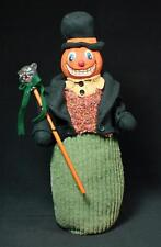 "Vintage Reproduction 17.5"" Mache Pumpkin Man With Black Cat Stick"