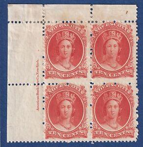 Nova Scotia stamps #12 10c vermilion QV UL Inscription PB MOG F c details