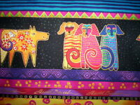 "SALE 1 YD X 44"" stripe DOGS AND DOGGIES Laurel Burch Clothworks bright Metalic"