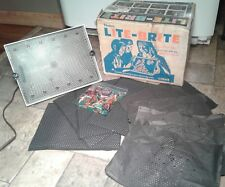 Vintage Hasbro 1970s Lite Brite w/Box, Colored Pegs, & Some Picture Sheets