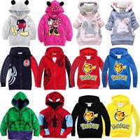 Kids Boy Girl Cartoon Hoodie Sweatshirt Jumper Top Hooded Jacket Coat Outerwear