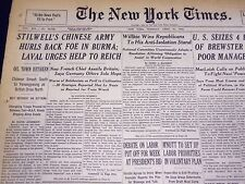 1942 APRIL 21 NEW YORK TIMES - STILWELL'S CHINESE ARMY HURLS BACK FOE - NT 1213