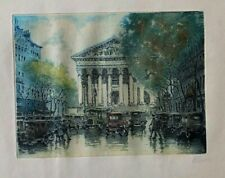 """Rainy Day""  Hand Colored Pencil Signed Etching   MARCEL JULIEN BARON"