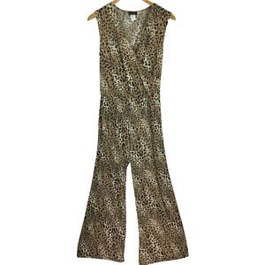 Star Vixen Women Jumpsuit Cheetah Print Pants Sleeveless Plus Size 3X NEW