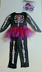 Girls Halloween / Fancy Dress- Skeleton /Tutu & Mask- Black/ Multi- Age 3-4 Yrs
