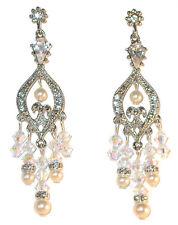 CREAM Pearl CLEAR AB Crystal Chandelier Earring Swarovski Elements Silver Formal