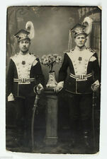 1910s Imperial Russian 2 BRAVE UHLAN OFFICERS Posing with SABERS MEDAL Photo