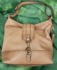 COACH LEGACY Leather Duffel Bucket Dog Leash Tan Brown Crossbody Purse Bag