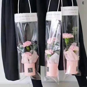 Bag Paper Flower Mini Box Transpant Bucket Bouquet PVC Storage Florist Bag ca