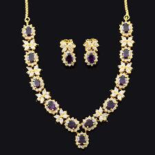 Schmuck-Set Lila Amethyst 18K Gold ¨¹berzogene Ohrringe Halskette
