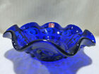 MCM Viking Glass Cobalt Blue Thumbprint Raised Dots Open 8
