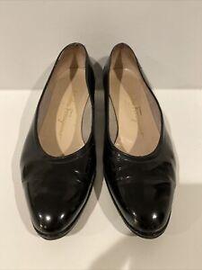 Women's Vintage Ferragamo Wedge Black Patent Leather Shoes 7 1/2 B Fits Like 7