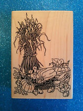 Fall Harvest Cornstalk Scene ~ #482-J Embossing Arts Co.1995 New! ~ Rubber Stamp