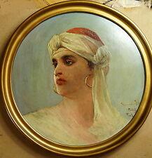 August Pollak, Junger Orientale, Algerien, Paris, Öl auf Platte, gerahmt