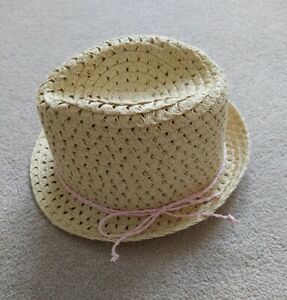 H&M Baby Girl Straw Sun Hat Size 12-18 Months excellent condition