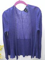 Eileen Fisher ribbed linen cardigan sweater lavender purple drape front, medium