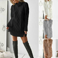 Ladies Turtleneck Long Sleeve Chunky Cable Knitted Jumper Sweater Dress Tops