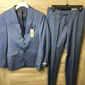 Kenneth Cole Reaction Mens 36R 29Wx32L Blue Denim 2-Piece Suit Jacket