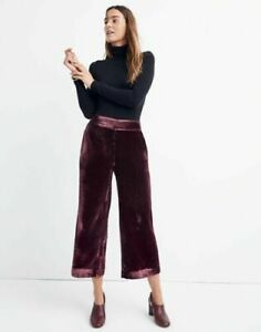 NWT Madewell Velvet Huston Pull-On Crop Pants in Velvet Size 2X Wine