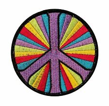 Peace Sign Psychedelic Hippie Embroidered Iron On Patch Applique