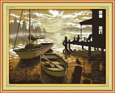 SUNSET ON THE LAKE COUNTED CROSS STITCH KIT 14 COUNT AIDA 41x33CM