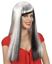Ladies Long Grey Wig Horror Halloween Witch Vampire Morticia Addams Fancy Dress