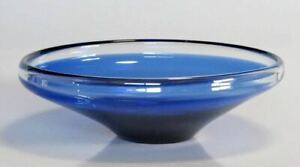 Vintage glass bowl in electric blue with clear lip, Scandinavian?