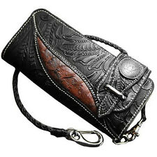 Biker Long Wallet Genuine Leather Native Design Mens Rider Chain Purse Black RD5