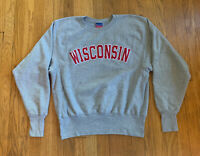 Wisconsin Badgers Vintage Reverse Weave Champion Crewneck Size M EUC Gray Big 10